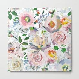 Hand Drawn Vintage Spring Claude Monet Botanical Flower Garden Metal Print