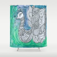 peacock Shower Curtains featuring Peacock by Ioana Stef