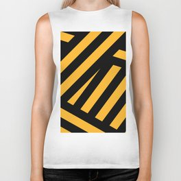 Black and yellow abstract striped Biker Tank