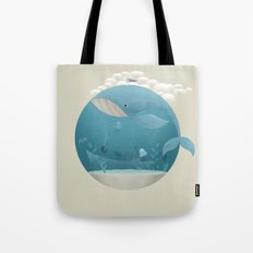 Seagull rest over whale Tote Bag