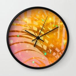 Sultry Summer Sun Golden Palms Wall Clock