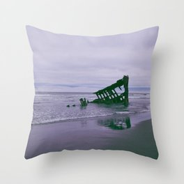 Shipwreck at Fort Stevens state park Oregon Throw Pillow