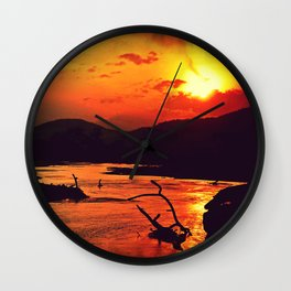 African River Sunset Leopard Wall Clock