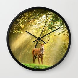 Red Deer - Deer - Stag - Male Woodlands - Forest - Trees. Little sweet moments. Wall Clock