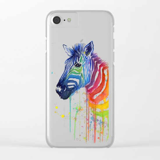 Zebra Watercolor Rainbow Painting | Ode to Fruit Stripes Clear iPhone Case