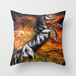 It's always sunny in philadelphia, charlie kelly horse shirt, black stallion Throw Pillow