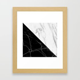 half black half white marble Framed Art Print