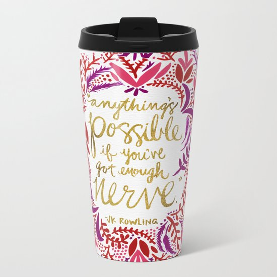 Anything's Possible – Gold & Red Metal Travel Mug
