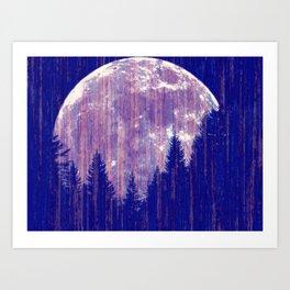 Full moon and stars - stripes Art Print