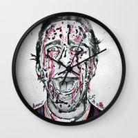 american psycho Wall Clocks featuring American Psycho  by pmaiti