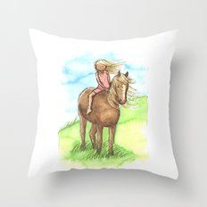 Horse Girl - Artwork that re-visits your favorite childhood memories Throw Pillow