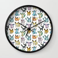 eevee Wall Clocks featuring Eeeveelution Doodle by KiraKiraDoodles