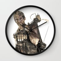 daryl Wall Clocks featuring Daryl TWD by Yousef