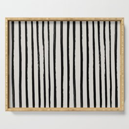 Vertical Black and White Watercolor Stripes Serving Tray
