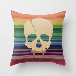Rainbow Skull Throw Pillow