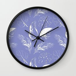 pattern with tropical white leaves Wall Clock
