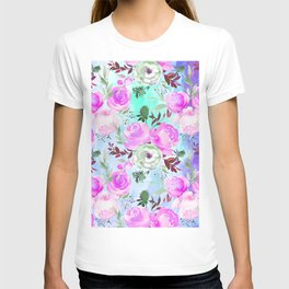 Blush pink lilac lavender teal watercolor roses pattern T-shirt