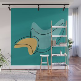 Retro Teal Mid Century Modern Kidney Shape Patterns Wall Mural