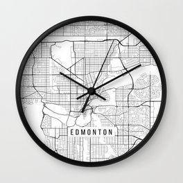 Edmonton Map, Canada - Black and White Wall Clock