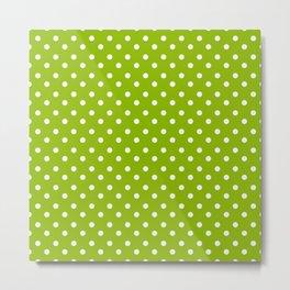 Small White & Apple Green Spring Polka Dot Pattern Metal Print