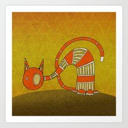 Orange Curious Cat III Art Print