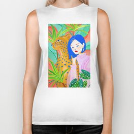 Short Hair Girl and Leopard in Garden Biker Tank