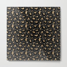Black Gold Leopard Print Pattern Metal Print
