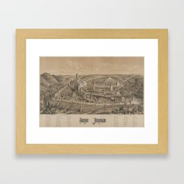 Vintage Pictorial Map of Ancient Jerusalem (1887) Framed Art Print