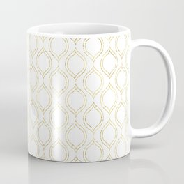 White And Gold Moroccan Chic Pattern Coffee Mug