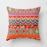 india Throw Pillows featuring India Style Pattern (Multicolor) by Diego Tirigall