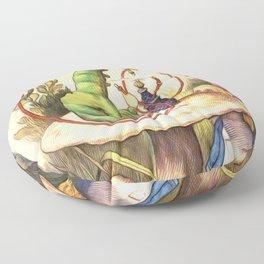 Alice & The Hookah Smoking Caterpillar - Alice In Wonderland Floor Pillow