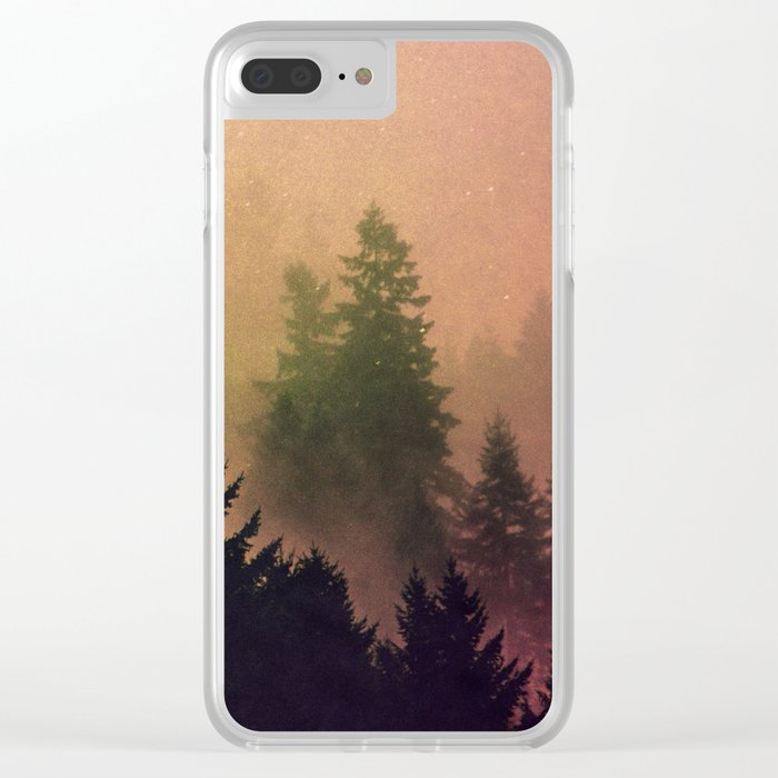 Cascadia Green Trees and Sunset Clear iPhone Case