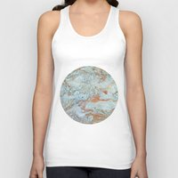 jewish Tank Tops featuring Marble in shades of blue and gold by Brown Eyed Lady