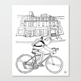 Cycling in the city Canvas Print