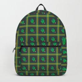 Teal and Green Iguana Plaid Backpack