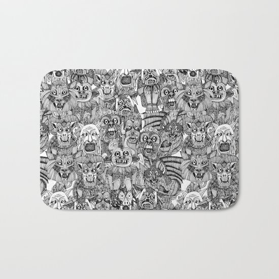 gargoyles black white Bath Mat