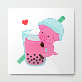 Pig with Pink Bubble Tea Metal Print