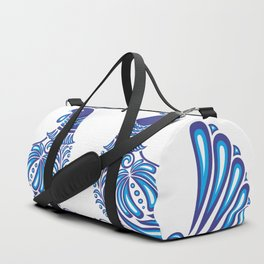 Abstract gzhel birds and ornament Duffle Bag