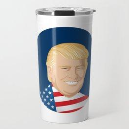 Portrait of Trump with US flag Travel Mug