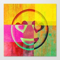 emoji Canvas Prints featuring Emoji cushion by xoxo