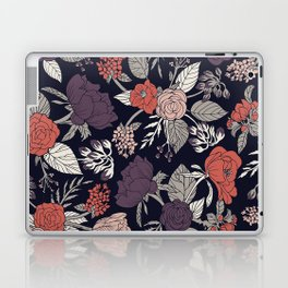 Purple, Gray, Navy Blue & Coral Floral/Botanical Pattern Laptop & iPad Skin