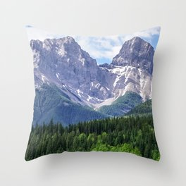 Three Sisters Mountain in Canmore, Alberta Canada Throw Pillow