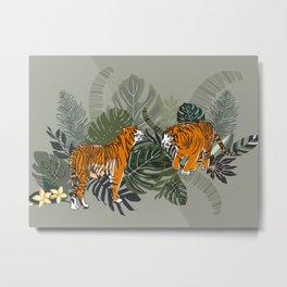 Golden Tiger Pair in Jungle Metal Print