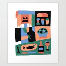Fish Dinner by Swirvington Art Print