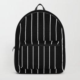 Classic White Baseball Stripe Lines On Black Backpack