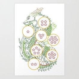 DBZ- Shenron Linear Color Art Print