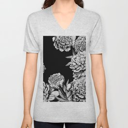 FLOWERS IN BLACK AND WHITE Unisex V-Neck