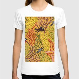Hanging gardens, birds and flowers, kashmiri paper mache pattern T-shirt