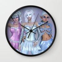 manga Wall Clocks featuring Manga Girls by Illu-Pic-A.T.Art