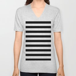 Midnight Black and White Stripes Unisex V-Neck